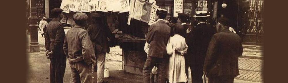 ©AFB_FredericBallell.Rambla de los estudios.Quiosc de premsa.Entrada carrer Santa Anna1907-1908