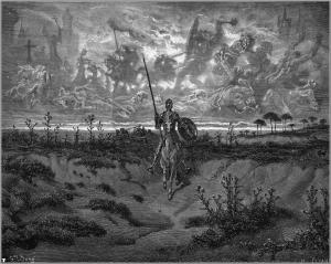 Il·lustració del Quixot. Gravat per Héliodore Pisan, xilografia